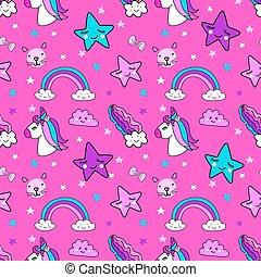 Cute bright unicorn and girly elements seamless pattern...