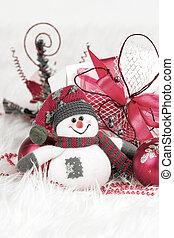 cute, brinquedo, boneco neve, natal árvore decorações, e,...
