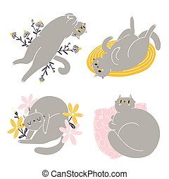 Cute british shorthair cat vector collection 2