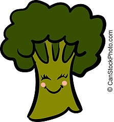 Cute broccoli, illustration, vector on white background.