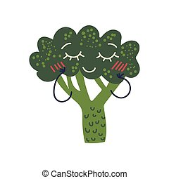 Cute Broccoli with Smiling Face, Adorable Funny Vegetable Cartoon Character Vector Illustration
