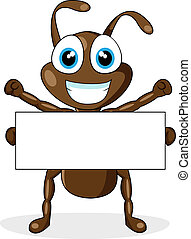 vector illustration of a cute little brown ant with blank sign. No gradient.