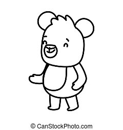 cute brown bear cartoon character on white background thick line