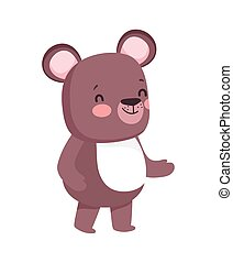 cute brown bear cartoon character on white background