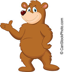 Cute brown bear cartoon presenting - Vector illustration of...