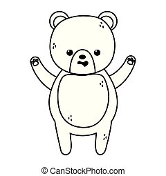 cute brown bear character cartoon thick line