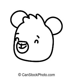 cute brown bear face cartoon character on white background thick line