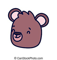 cute brown bear face cartoon character on white background