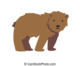 Cute brown bear. Flat vector illustration. Isolated on white background