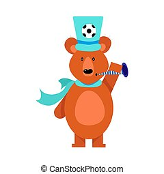 Cute brown bear football fan. Vector illustration isolated on white background