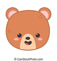 cute brown bear head on white background