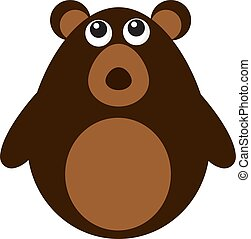 Cute brown bear, illustration, vector on white background.