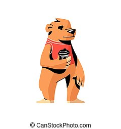 Cute brown bear in red vest with hot coffee cup