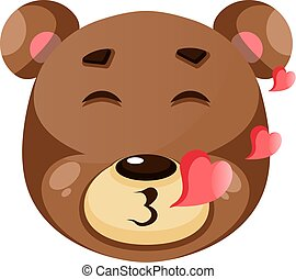 Cute brown bear is in love, illustration, vector on white background.