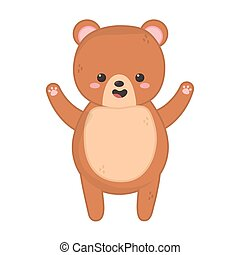 cute brown bear on white background