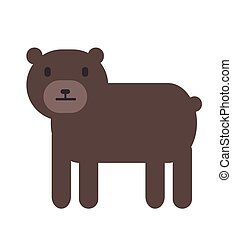 Cute brown bear, simple style. Flat vector illustration. Isolated on white background