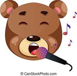 Cute brown bear singing karaoke, illustration, vector on white background.