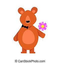 Cute brown bear with the flower in arms. Vector illustration isolated on white background