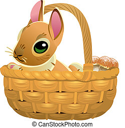 Cute brown bunny in a wicker basket isolated on white background. Vector illustration of cartoon hare.