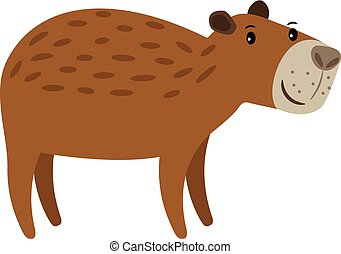 Cute brown capybara icon - Capybara cute brown cartoon...