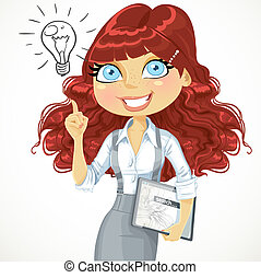 Cute brown curly hair girl with a electronic tablet idea inspiration isolated on a white background