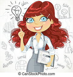 Cute brown curly hair girl with a electronic tablet idea inspiration on a doodle background
