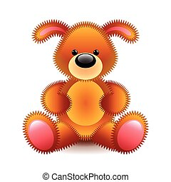 Cute brown dog soft toy isolated on white vector...