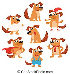 Cute brown funny dog, puppy character