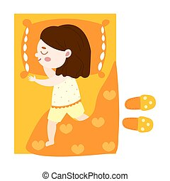 Cute brown-haired little girl lovely sleeping in orange bed top view. Vector illustration in flat cartoon style.