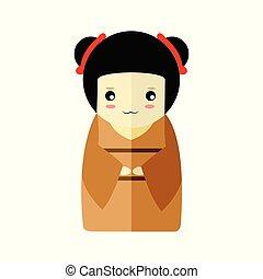 Cute Brown Kimono Girl Character Vector Illustration Graphic