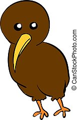 Cute brown kiwi, illustration, vector on white background.