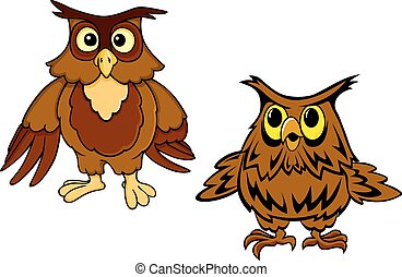 Cute brown owls cartoon characters