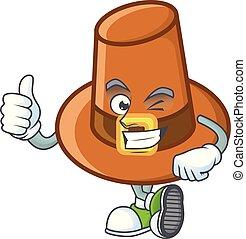 Cute brown pilgrim hat in thumbs up mascot.