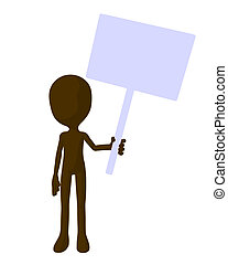 Cute Brown Silhouette Guy Holding A Blank Sign - Cute brown...