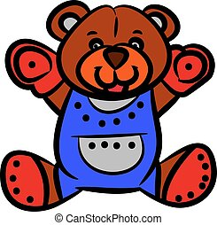 Cute brown teddy bear, cartoon on white background.