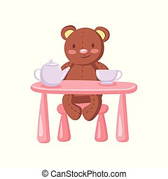 Cute brown teddy bear drinking tea at toy table, tea party cartoon vector Illustration