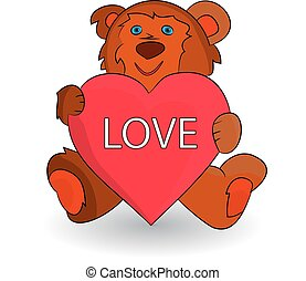 Cute brown teddy bear, heart in paws (love), cartoon on white background.