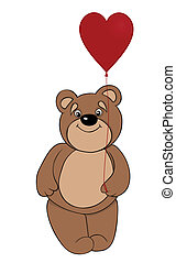 cute brown teddy bear holding a balloon in the form of red heart