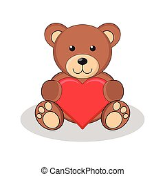 Cute brown teddy bear holding red heart.