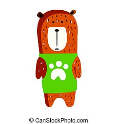 Cute brown teddy bear in green vest standing.