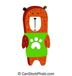 Cute brown teddy bear in green vest standing.