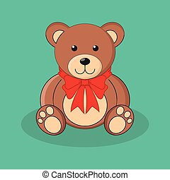 Cute brown teddy bear toy with red bow.