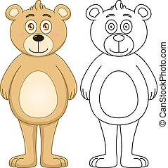 Cute Brown Teddy Bear With Lineart
