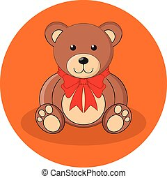 Cute brown teddy bear with red bow. Flat design.