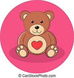 Cute brown teddy bear with red heart. Flat design.