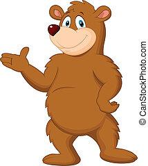 cute, brun, aflægger, bjørn, cartoon