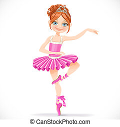 Cute brunette ballerina girl dancing in pink dress isolated on a white background