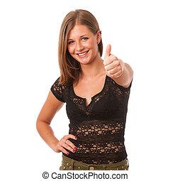 cute brunette gesturing success