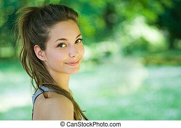 Cute brunette.
