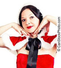cute brunette posing in a Christmas outfit